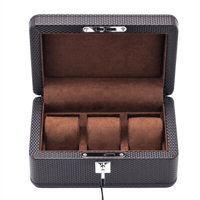 Luxury 3 Carton Slots Carbon Brazing and PU Leather Design Lockable Watch Case - BELLADONNA