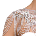 Elaborate Beaded Wedding Dress Lace Shawl / Accessory - BELLADONNA
