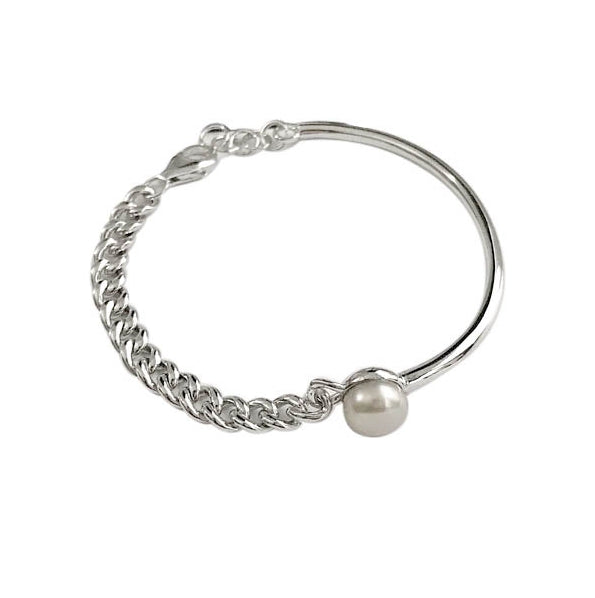 Asymmetrical White Pearl in .Solid 925 Sterling Silver, White Gold Bracelet - BELLADONNA