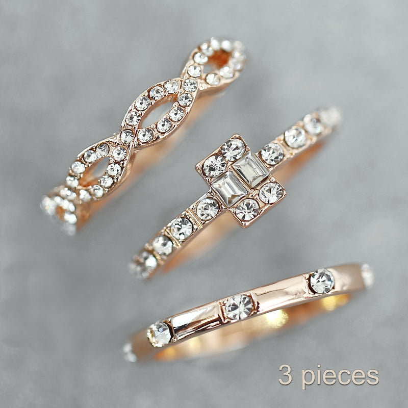 Rose Gold Stacking Rings inlaid White Cubic Zirconia Set Of Three - BELLADONNA