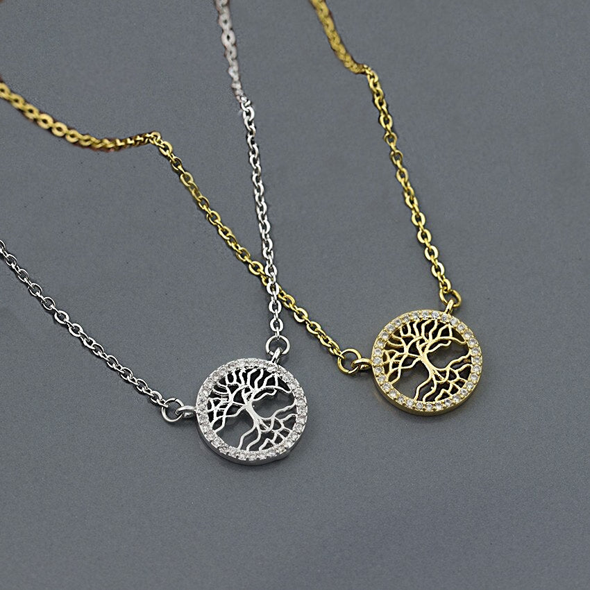 Dainty Tree of Life  with White Cubic Zirconia Pendant Necklace in Silver or Gold - BELLADONNA