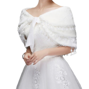 Bridal Fringed Warm White Wedding Shoulder Shawl - BELLADONNA