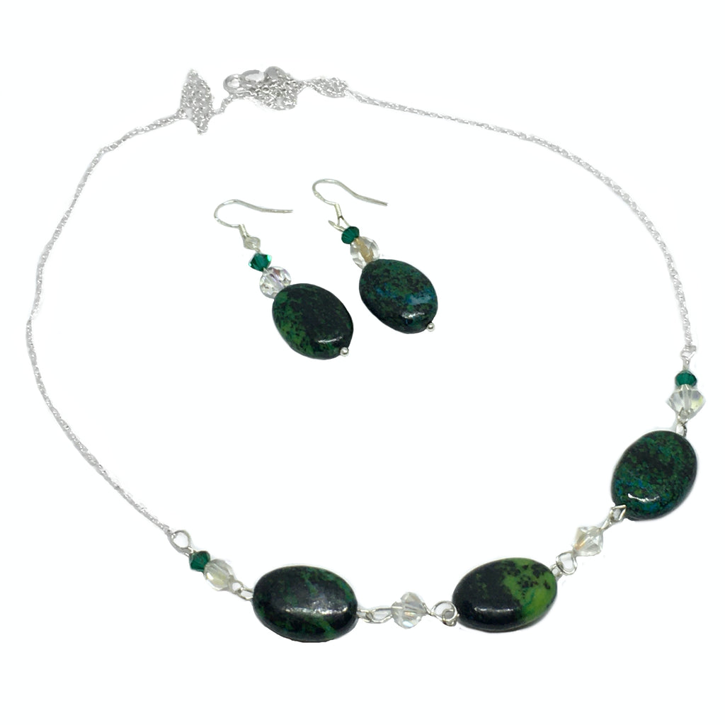 Natural Chrysocolla Solid .925 Sterling Silver Necklace & Earrings Set - BELLADONNA