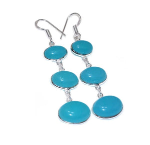 Long Dangle Blue Chalcedony,.925 Sterling Silver Earrings - BELLADONNA
