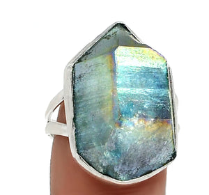 Aqua Aura Quartz Gemstone Solid .925 Sterling Silver Ring Size 7.5 - BELLADONNA