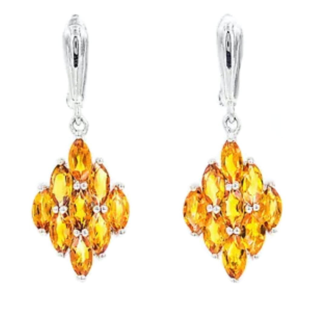 33.8 cts Natural Citrine .925 Sterling Silver 14K White Gold Earrings - BELLADONNA