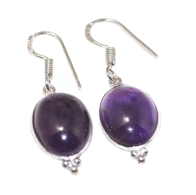 African Purple Amethyst Dangle .925 Silver Earrings - BELLADONNA