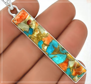 Natural Spiny Oyster Arizona Turquoise Solid .925 Sterling Silver Pendant - BELLADONNA