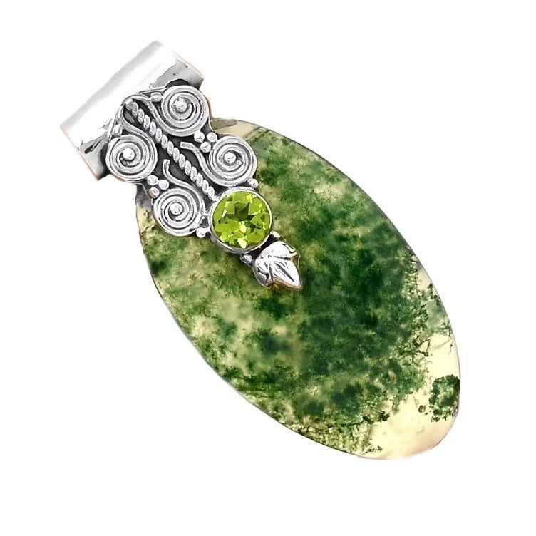 Natural Peridot, Scottish Moss Agate Gemstone Solid .925 Sterling Silver Pendant - BELLADONNA