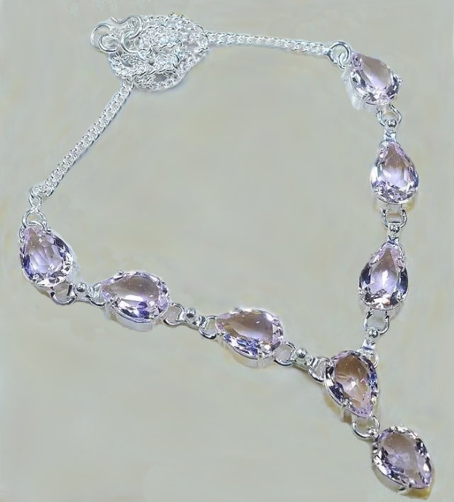 Pastel Pink Topaz Gemstone .925 Silver Necklace - BELLADONNA