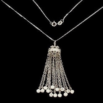 White Cubic Zirconia Solid .925 Sterling Silver, 14K White Gold Waterfall Necklace - BELLADONNA