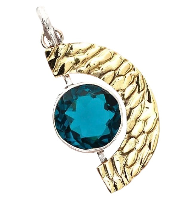 Natural Neon Blue Apatite Gemstone Solid .925 Sterling Silver Pendant - BELLADONNA