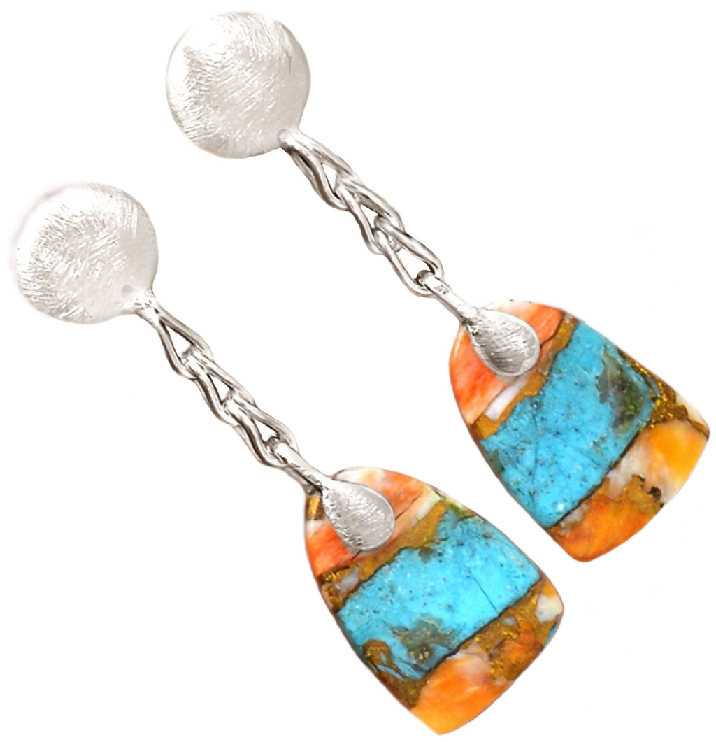 4.7 Grams Natural Spiny Oyster Arizona Turquoise Solid .925 Sterling Silver Earrings - BELLADONNA
