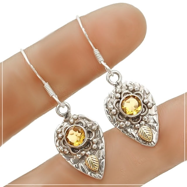 Two Tone Natural Citrine Solid .925 Sterling Silver Earrings - BELLADONNA