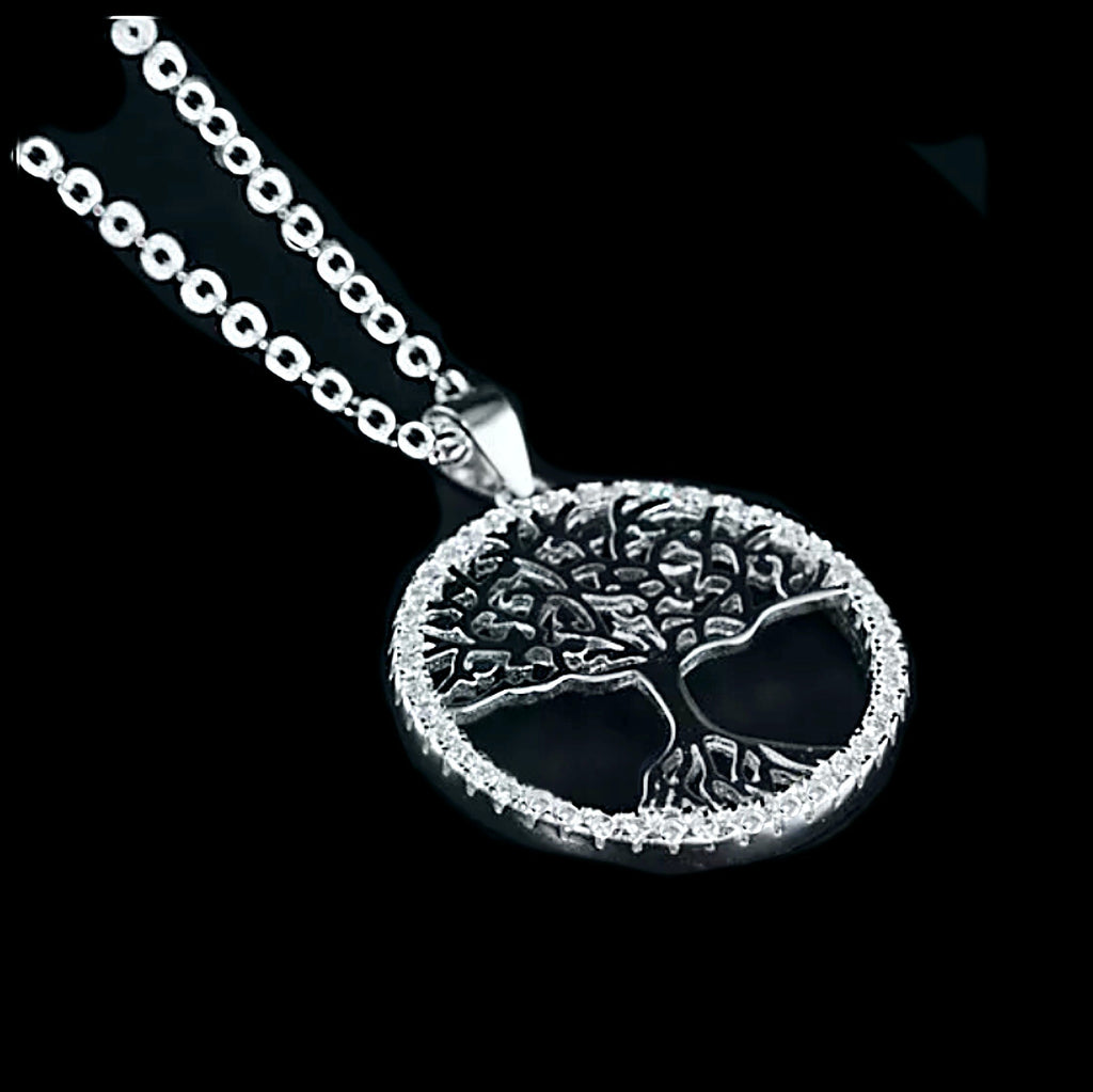 White Cubic Zirconia Tree of Life Solid .925 Sterling Silver, 14K White Gold Necklace - BELLADONNA