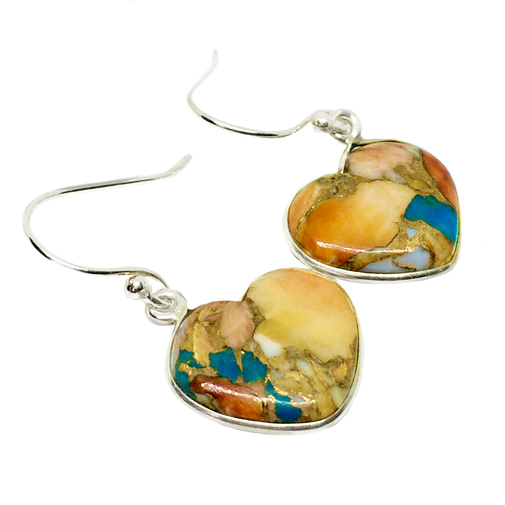 Natural Spiny Oyster Arizona Turquoise Solid .925 Sterling Silver Earrings - BELLADONNA