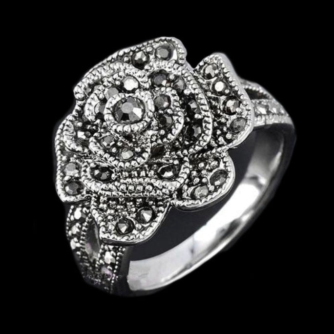 Marcasite Rose 18K White Gold Plated Ring Size 7 - BELLADONNA