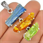 Natural Blue, Yellow, Green Kyanite Gemstone Solid .925 Sterling Silver Pendant - BELLADONNA