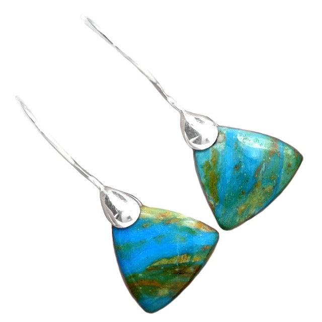 Natural Peruvian Blue Opal Gemstone Solid .925 Sterling Silver Earrings - BELLADONNA