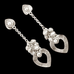9.62 Cts Natural White Pearl , Solid .925 Sterling Silver Earrings - BELLADONNA
