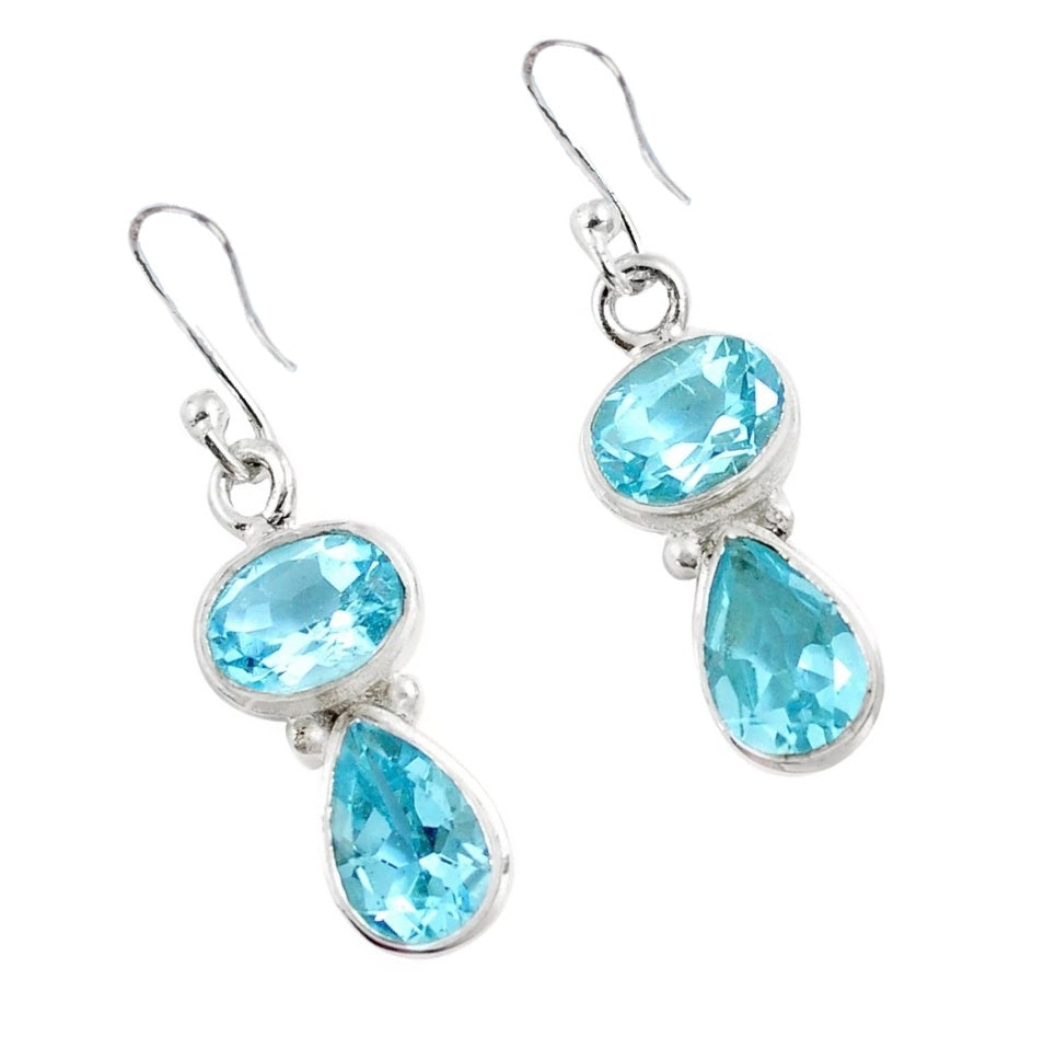 Natural Sky Blue Topaz Gemstone Solid .925 Sterling Silver Earrings - BELLADONNA