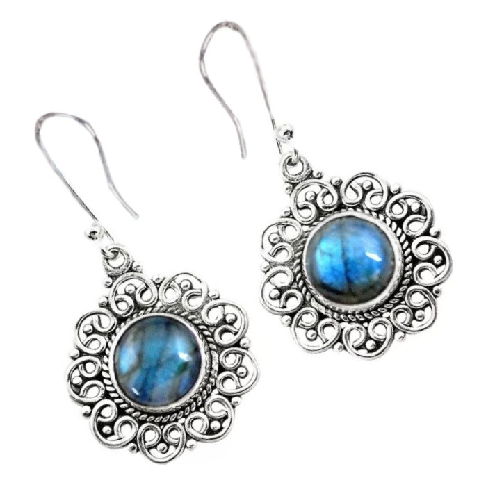 Natural Blue Fire Labradorite Solid .925 Silver Earrings - BELLADONNA