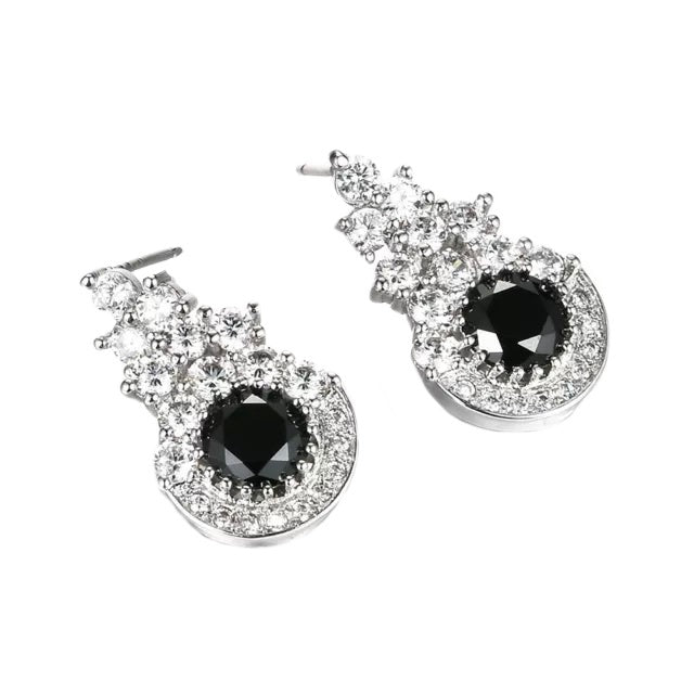 Handmade Black Sapphire and White Cubic Zirconia White Gold Filled Stud Earrings - BELLADONNA