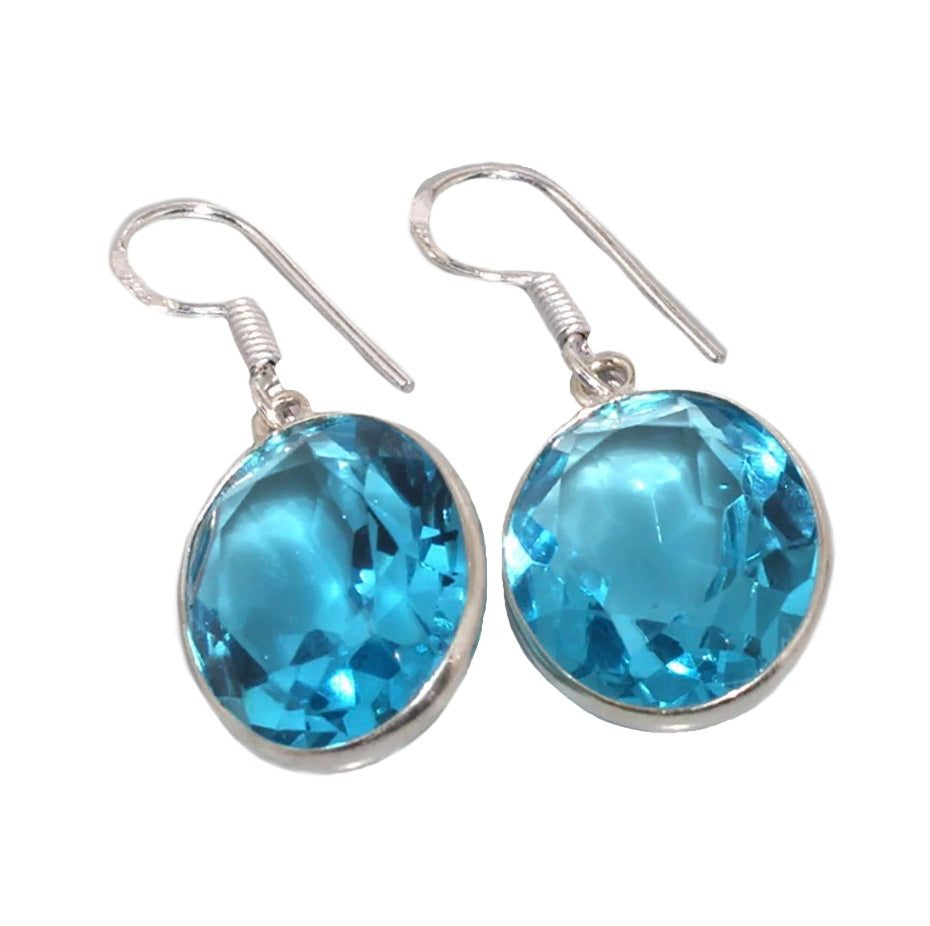 Blue Topaz Gemstone .925 Sterling Silver Earrings - BELLADONNA