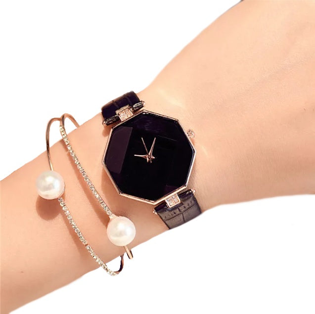 Attractive Black and Gold Geometrical Analog Quartz Watch With Black Leather Strap - BELLADONNA