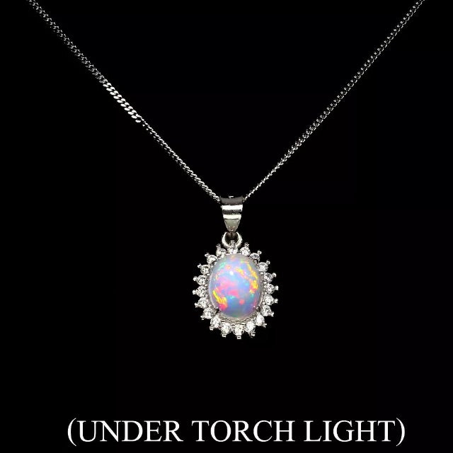 Deluxe Unheated Full Flash Fire Opal, White Cubic Zirconia Solid.925 Sterling Silver Necklace - BELLADONNA