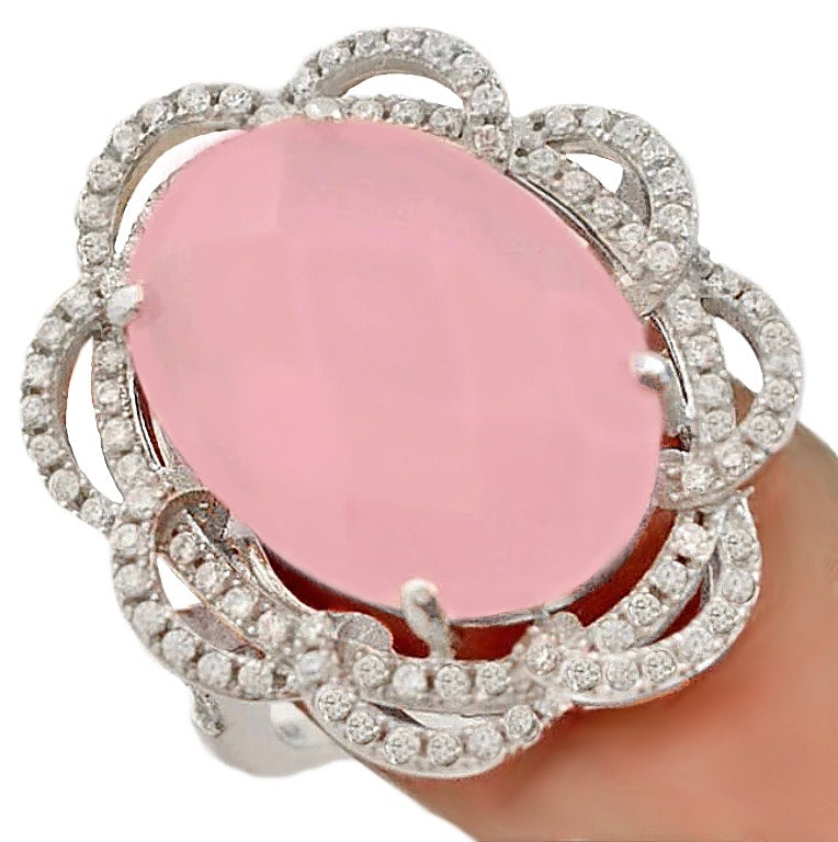 15.68 cts Pink Chalcedony, White Topaz Solid.925 Sterling Silver Ring Size 8 - BELLADONNA