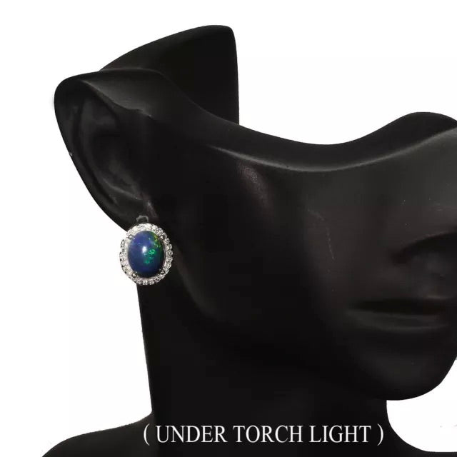 Natural Unheated Black Full Flash Fire Opal, White Cubic Zirconia Solid .925 Silver Earrings - BELLADONNA