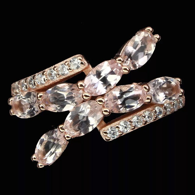 Deluxe Rose Gold Natural Morganite White Cubic Zirconia Solid .925 Sterling Silver Ring Size 9 - BELLADONNA