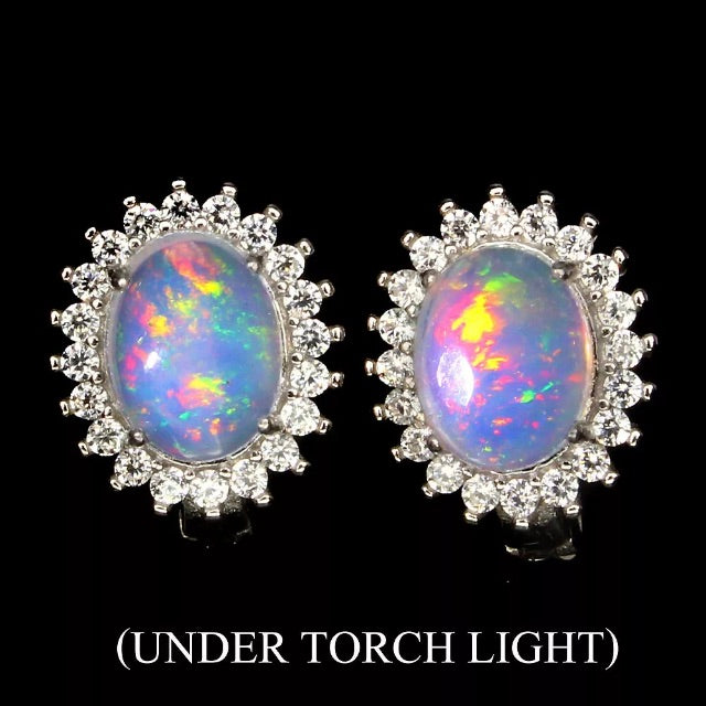 Natural Unheated Rainbow Full Flash Fire Opal  Solid .925 Silver Earrings - BELLADONNA