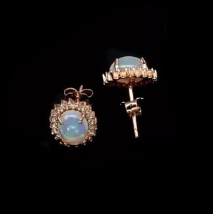 Natural Unheated Full Flash Fire Opal, White Cubic Zirconia Solid .925 Silver, Rose Gold Earrings - BELLADONNA