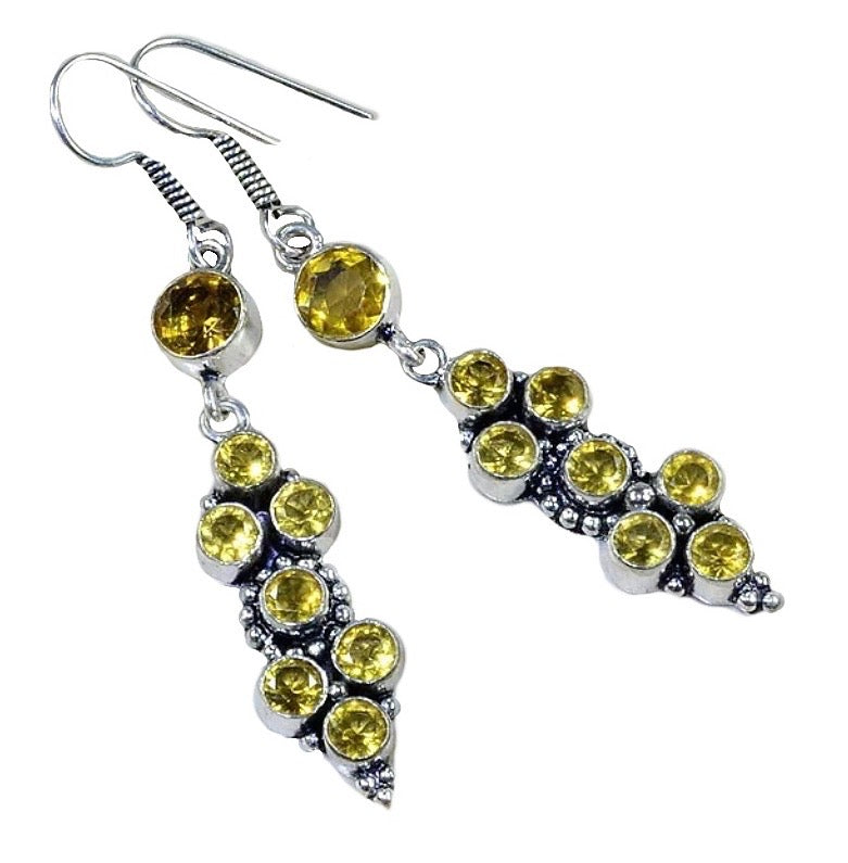 Long Faceted Citrine .925 Sterling Silver Earrings - BELLADONNA