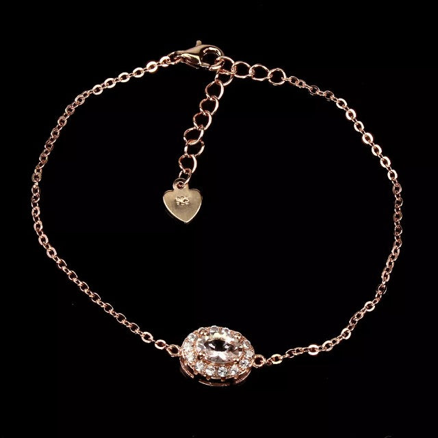Deluxe Rose Gold Natural Morganite White Cubic Zirconia Solid .925 Sterling Silver Bracelet - BELLADONNA