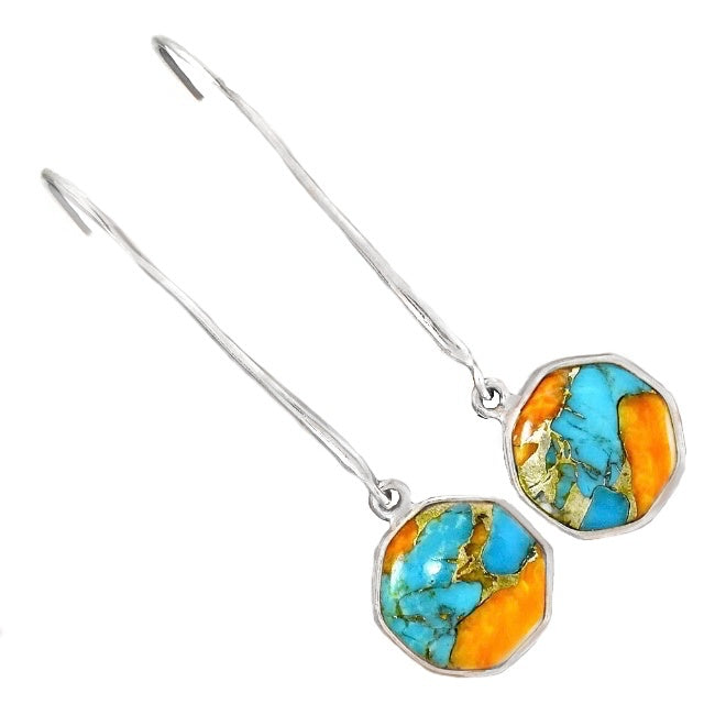 Natural Spiny Oyster Arizona Turquoise, Fire Opal Solid .925 Sterling Silver Earrings - BELLADONNA
