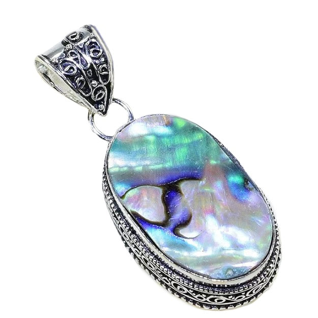 New Zealand Abalone Shell 925 Sterling Silver Pendant - BELLADONNA
