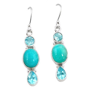 Natural Caribbean Larimar, Blue Topaz Solid .925 Sterling Silver Earrings - BELLADONNA