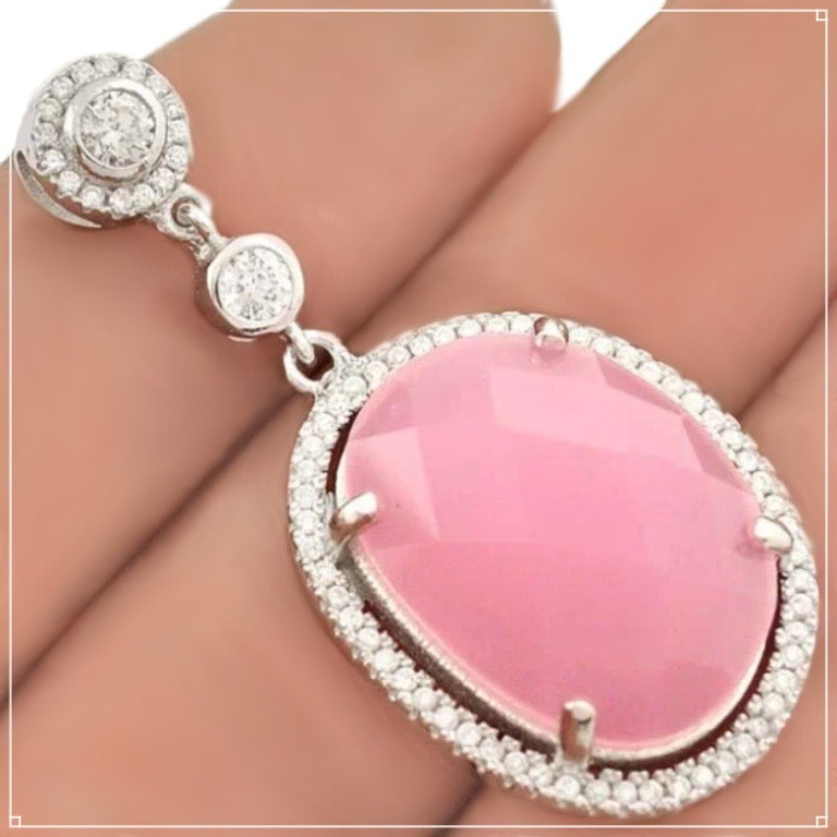 Faceted Pink Chalcedony, White Topaz Pendant Solid.925 Sterling Silver - BELLADONNA