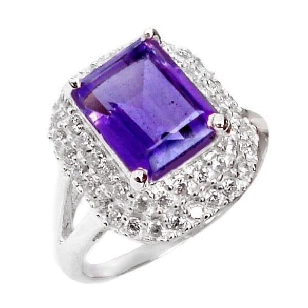 Natural Purple Amethyst, White Topaz Solid .925 Silver Ring Size 8.25 - BELLADONNA
