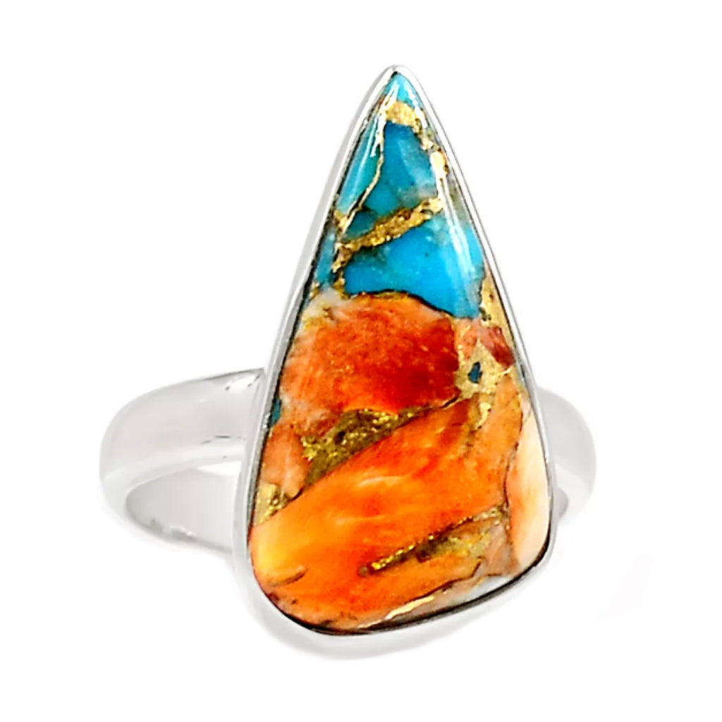 Natural Spiny Oyster South Western Arizona Turquoise Solid .925 Sterling Silver Ring size US 7.5 - BELLADONNA