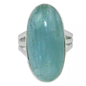 Natural Brazilian Aquamarine Oval Gemstone Solid .925 S/ Silver Ring Size 9.5 - BELLADONNA