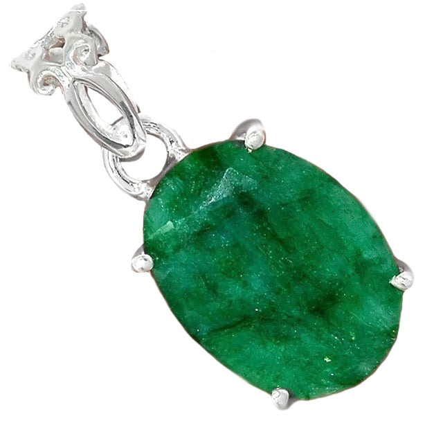 Natural Oval Shape Indian Emerald Gemstone In Solid .925 Silver Pendant - BELLADONNA