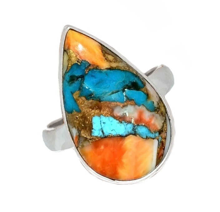 Natural Spiny Oyster South Western Arizona Turquoise Solid .925 Sterling Silver Ring size US 7 - BELLADONNA