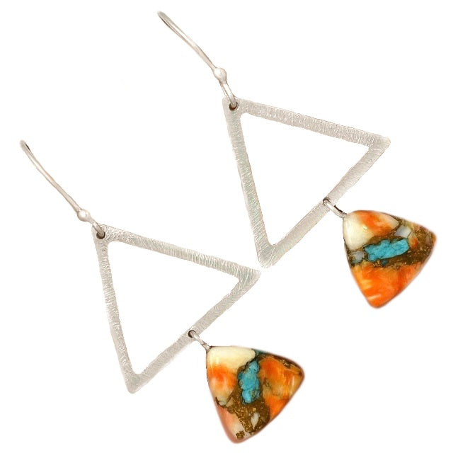 Trendy Natural Spiny Oyster Arizona Copper Turquoise Solid .925 Sterling Silver Earrings - BELLADONNA