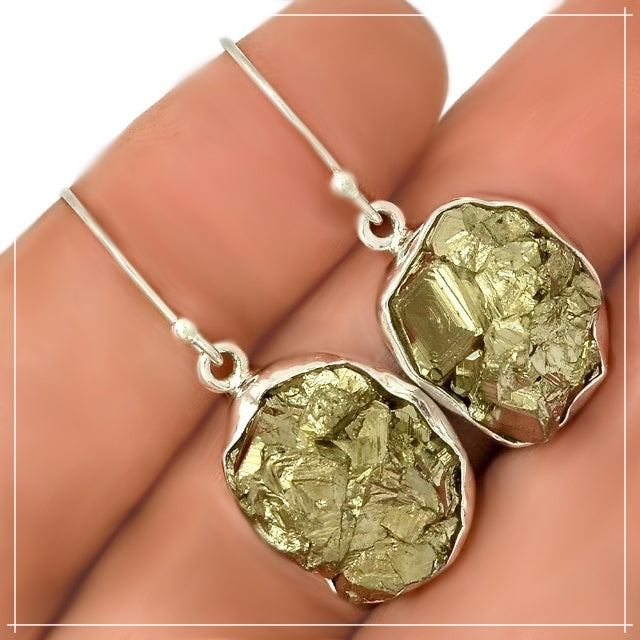 Peruvian Natural Golden Pyrite Nugget Solid .925 Sterling Silver Earrings - BELLADONNA