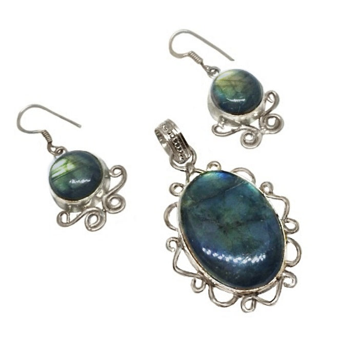Antique Style Natural Blue Fire Labradorite Solid.925 Sterling Silver Set - BELLADONNA