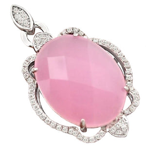 13.29 ct Pink Chalcedony, White Topaz Pendant Solid.925 Sterling Silver - BELLADONNA